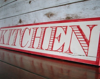 """Hand Painted Cottage Style Wood """"Kichen"""" Sign"""