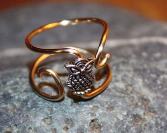 Owl Ring - Copper Wire, Silver Plated Owl, Adjustable Gold Coloured Bold Wire Ring #1