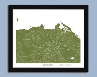 Edinburgh map, Edinburgh city map art, Edinburgh wall art poster, Edinburgh decorative map