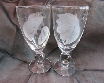 Vintage Etched Cordial Stems