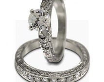 3/4ct Round Diamond In Antique Cathedral Wedding Set With 0.45ct Accent Diamonds