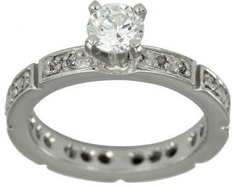 Eternity Ring Engagement Ring 1/2 Carat Diamond Ring With Pave Diamonds 14K Gold
