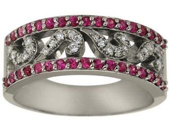 Diamond Wedding Band Sapphire Wedding Band With Pave Diamonds And Pink Sapphires