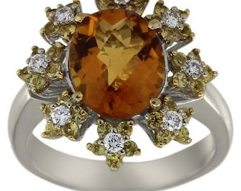 Flower Ring Citrine Ring Vintage Ring With Diamonds,Citrine,& Yellow Sapphires