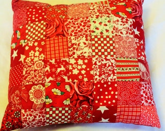 patch work throw pillow, with removable cover