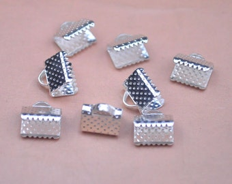 8mm silver  ribbon clamps silver plated ribbon crimps  100pcs