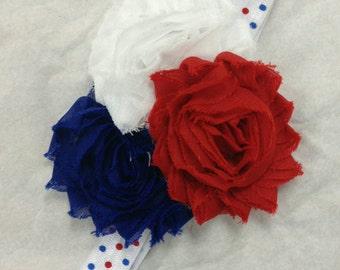 Red, White, & Blue Rosette Polka Dot Headband great for 4th of July