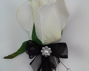 Black and White Real Touch Rose Boutonniere-Wedding Boutonniere-Prom Boutonniere