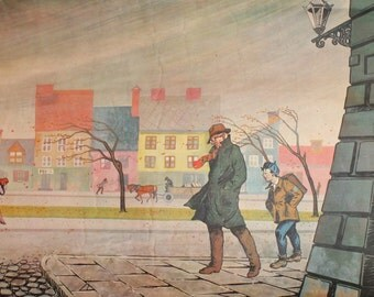 1964 Polish man & boy stormy weather poster