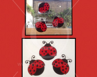 Ladybird Ladybug window cling set for glass & mirror surfaces, 3 reusable ladybugs  decals, faux stained glassed static cling decal