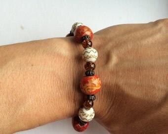 multicolored stretch bead bracelet