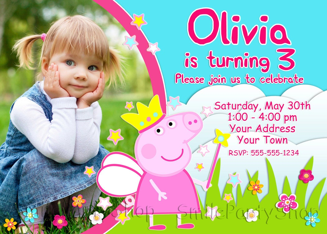Rare image intended for peppa pig printable invitations