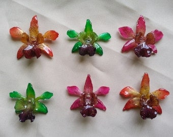 resin preserved small orchids pendants in orange, pink and green