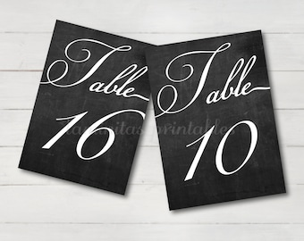 Rustic Table numbers wedding chalkboard 5x7, 1 to 30, Table numbers wedding, Table number cards, Table numbers printable, black and white