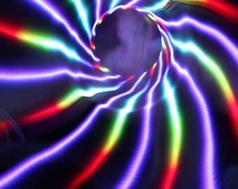 """Rainbow Lotus LED Hoop - sizes 26""""-40""""OD - HDPE or Polypro"""
