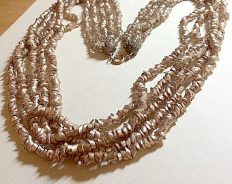 Vintage multi strand gold bead necklace multistrand necklace gold necklace torsade necklace glass bead necklace 1960s