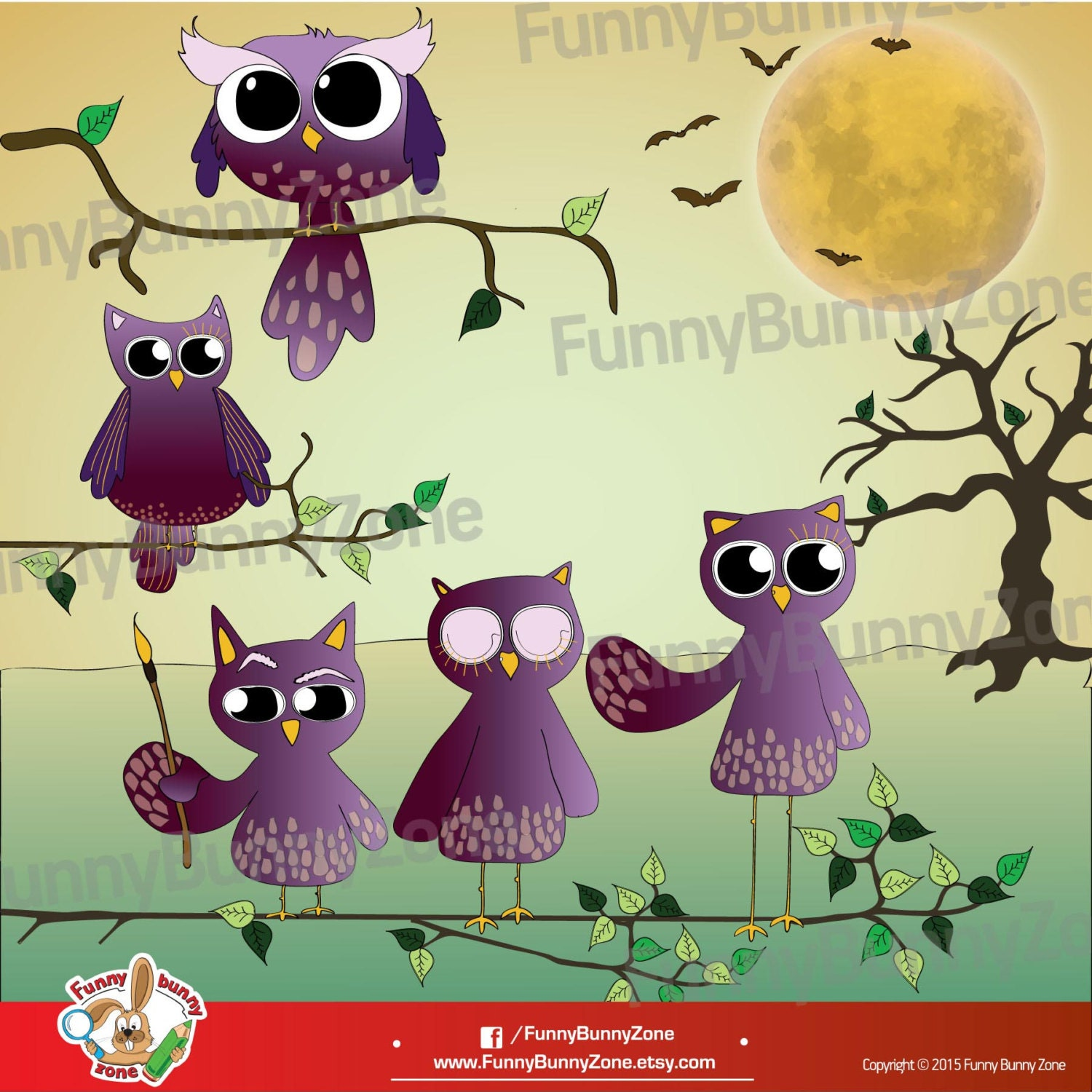Purple Owls Clipart Owl Clip Art Moon Bats Tree Digital