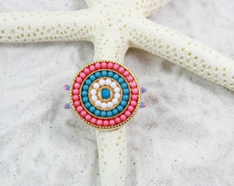 SPIRAL - Big Toe Ring - Colorful Beads, Stretch Bead Toe Ring, Pink big toe ring