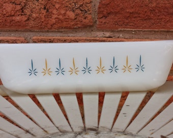 Fire King Milk Glass Loaf Pan Candle Glow Pattern