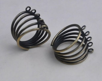 Wholesale Ring Blanks,15pcs Antique Bronze Rings With 5 Loops 5 Holes Settings