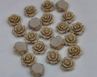 50pcs Rose Charms--Coffee Resin Rose Flower Cabochon 8mm/Flat back Necklace, Pendants.
