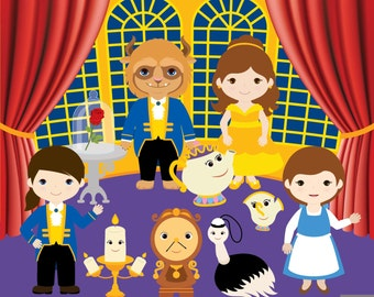 Belle and Beast Digital Clipart