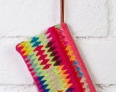 HIPPIE COIN PURSE - Handmade zipper pouch, boho pencil case, tribal pencil pouch, geometric pencil case, embroidered pencil pouch