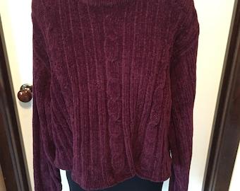 90s Purple Chenille Sweater