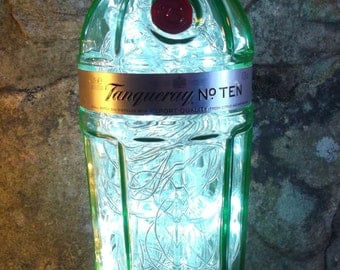 Upcycled Tanqueray No 10 gin bottle lamp - ideal for home, office, bar, man cave ... ANYWHERE