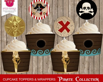 Printable Pirate Cupcake Toppers and Wrappers