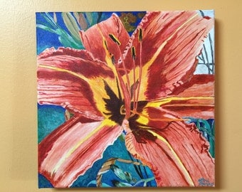 """12"""" x 12"""" Original Acrylic Painting """"Tiger of A Lily"""""""