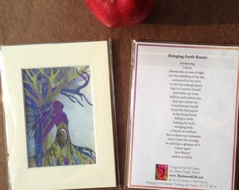 Mini Prints with Poems.  3.5x5 prints matted to 5x7