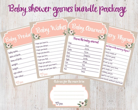 baby shower games bundle package baby predictions baby wishes