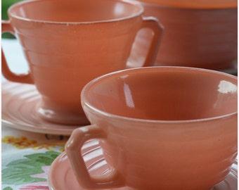 Hazel Atlas Pink Platonite Moderntone / Vintage Pink Dishes / Starter Collection / Cereal Bowls, Cup, Sugar Bowl, and Saucers