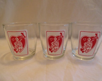 Set of 3 Unique And Rare Glasses With A Ace of Hearts On Them