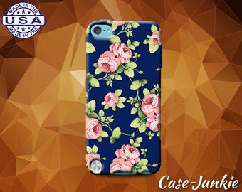 Rose Flower Vintage Pattern Pink Navy Cute Tumblr Inspired Case For iPod Touch 4th Gen And iPod Touch 5th Generation or iPod Touch 6th Gen