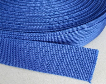 5 Yards, 1.25 inch (3.2 cm.), Polypropylene Webbing, Blue, Key Fobs, Bag Straps, Purses Straps, Belts, Tote Bag Handle.