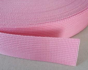 5 Yards, 1 inch (2.5 cm.), Polypropylene Webbing, Pink, Key Fobs, Bag Straps, Purses Straps, Belts, Tote Bag Handle.