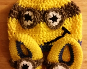 Minion Inspired Crocheted Baby Booties and Beanie