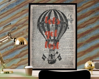 Let's Get Lost, Hot Air Balloon, Steampunk Art, Dictionary Print, Printable 8x12, Typography Print,