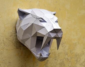 Make Your Own Sabertooh Tiger. | Papercraft animal | Paper Animal | Papercraft Tiger | Wild Cat | PlainPapyrus | Wild Animal | Sabertooh