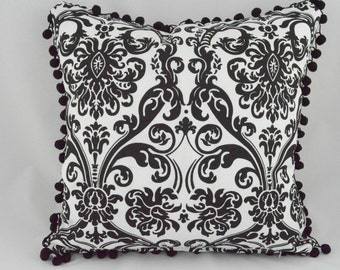 """Indoor/Outdoor Pom-Pom trimmed Damask black and white cushion cover. Fits an 18""""x18"""" pillow insert"""