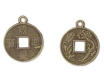 Coin Charm, Chinese dynasty coin, antiqued brass, 19mm, 4 each, D656
