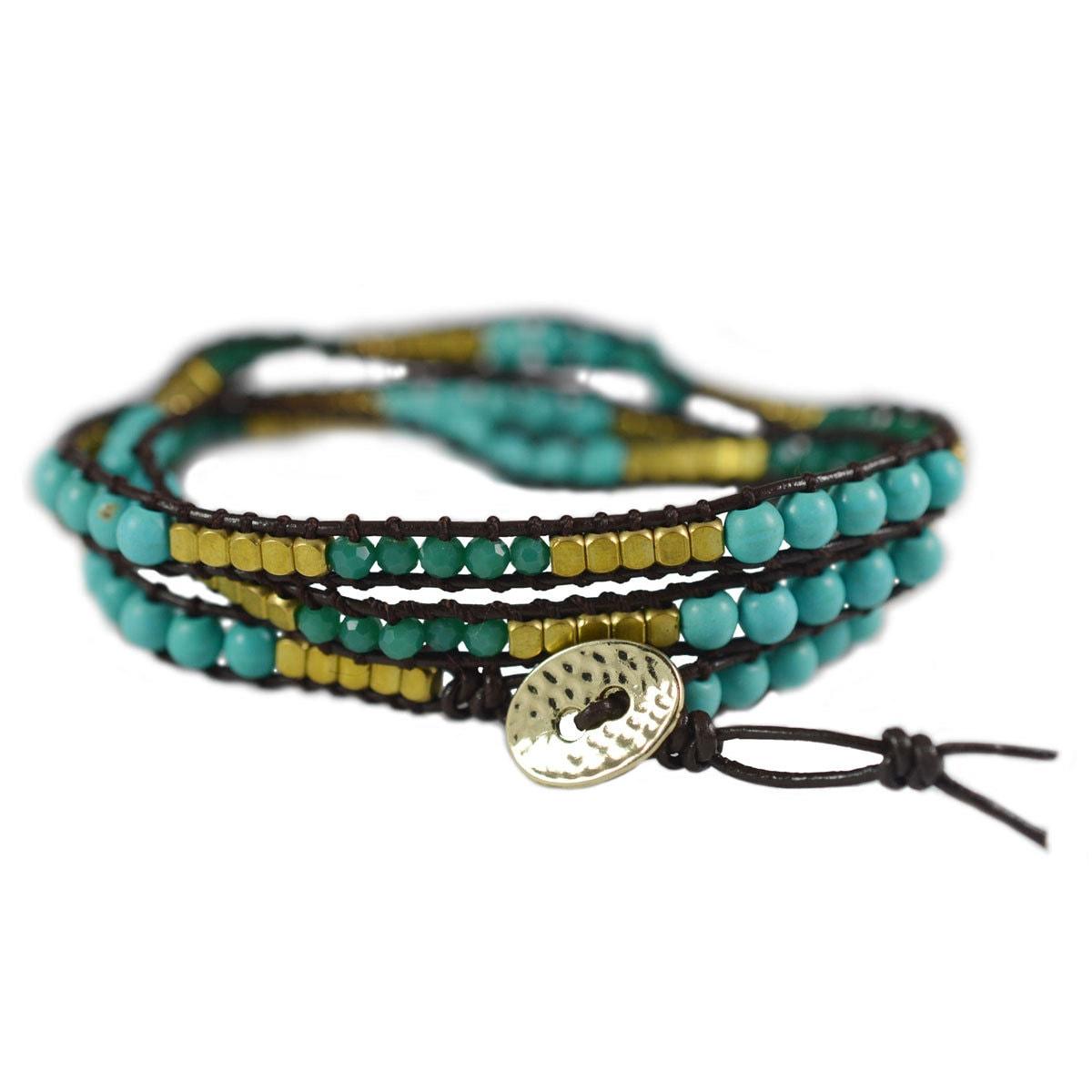 leather wrap bracelet 3 wrap beaded leather wrap by