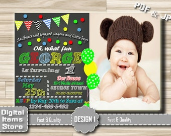 Birthday Invitation Boy Printable, Photo Birthday Invitation Any Age for Boy or Girl, Digital File Birthday Invitation in PDF and JPG