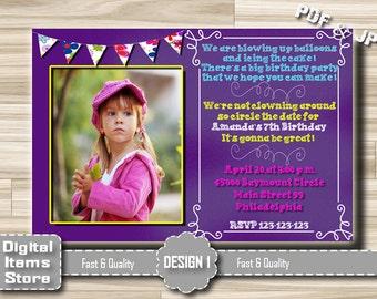 Photo Birthday Party Invitation Girl, Birthday Invitations Purple Pink Chalkboard, Birthday Invitations for Girls Any Age, Digital File