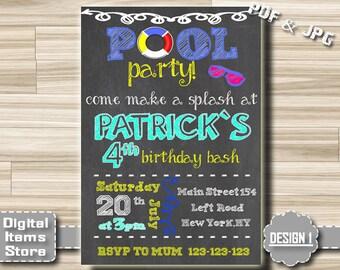 Pool Party Invitation Boy - Birthday Invitation Pool Party - Pool Party Invites - Birthday Invitations Pool, Invitation Boy, Boys Invitation