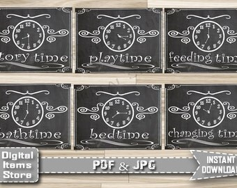 Baby Shower Chalkboard Sign Around the Clock - Printable Baby Shower Signs Around The Clock - Baby Shower Signs Bedtime Playtime