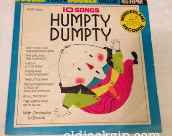 Humpty Dumpty Wonderland Record RARE 45 rpm VG+ 1966 The Sandpipers Kid Songs