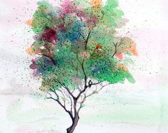 Tree painting, ORIGINAL Watercolor painting, landscape painting, nature painting watercolor